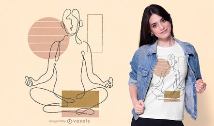 Continuous line yoga t-shirt design