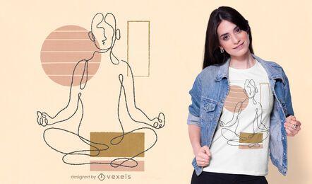 Kontinuierliche Linie Yoga T-Shirt Design