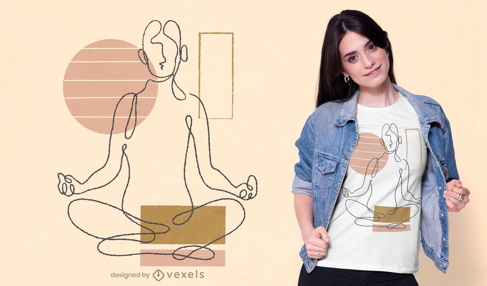 Diseño de camiseta de yoga de línea continua.