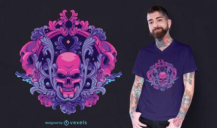 Design decorativo de t-shirt com caveira