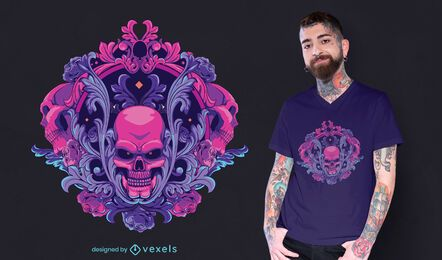 Diseño de camiseta de calavera ornamental