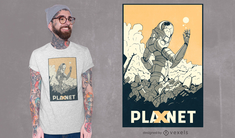 Diseño de camiseta planeta x