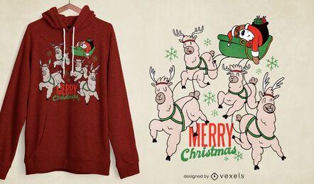 Design de t-shirt do Papai Noel Preguiça