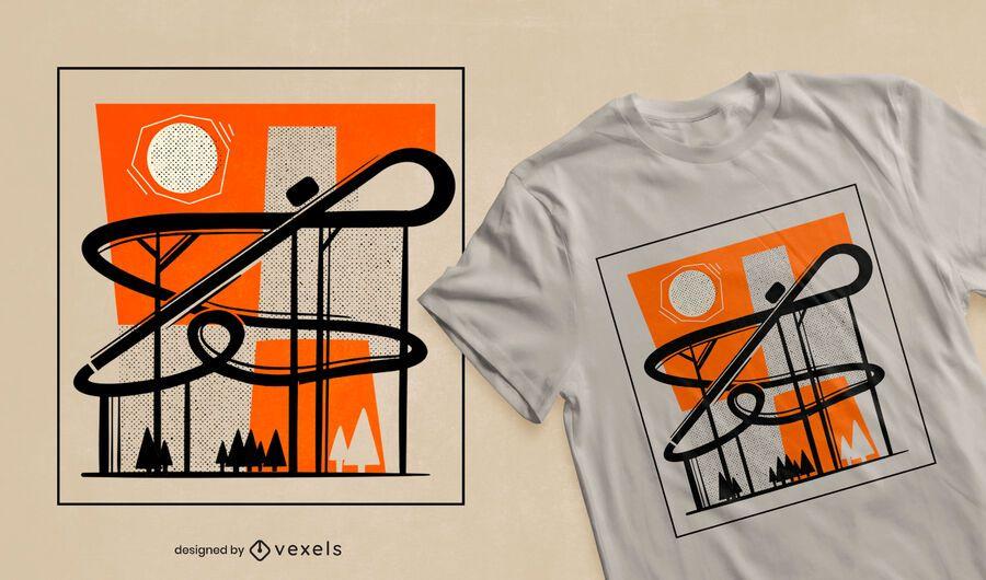 Diseño de camiseta montaña rusa