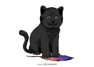 Diseño de ilustración de pluma de gato negro