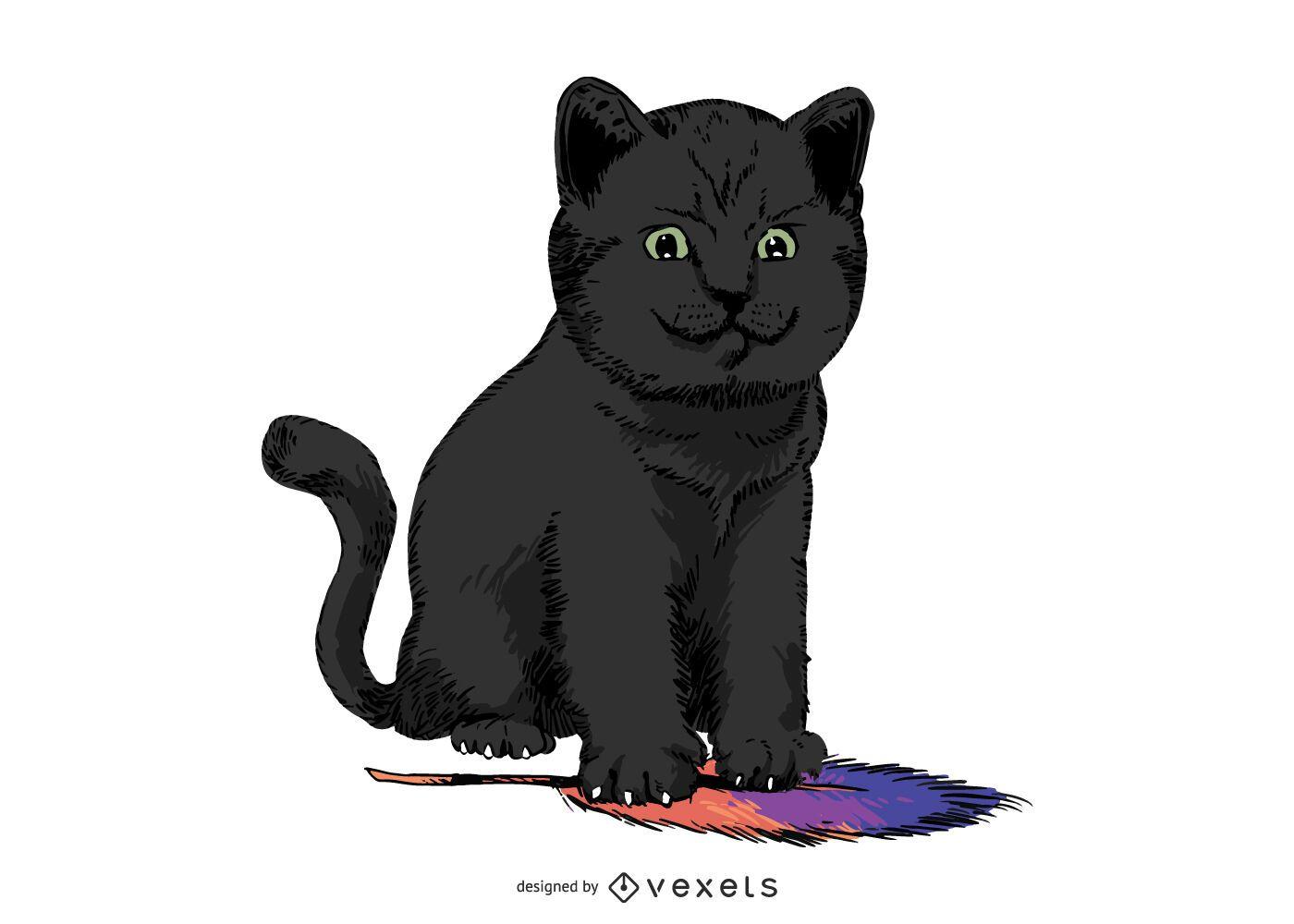 Black cat feather illustration design
