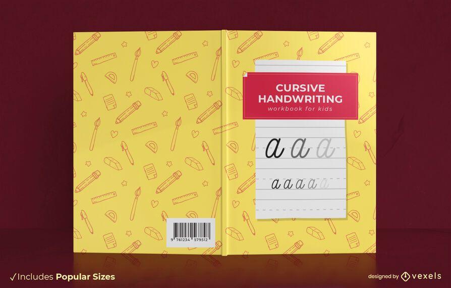 Design de capa de livro de caligrafia cursiva