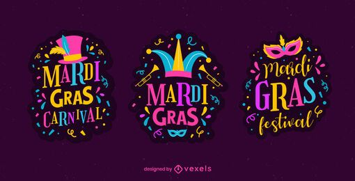 Mardi gras carnival badge set