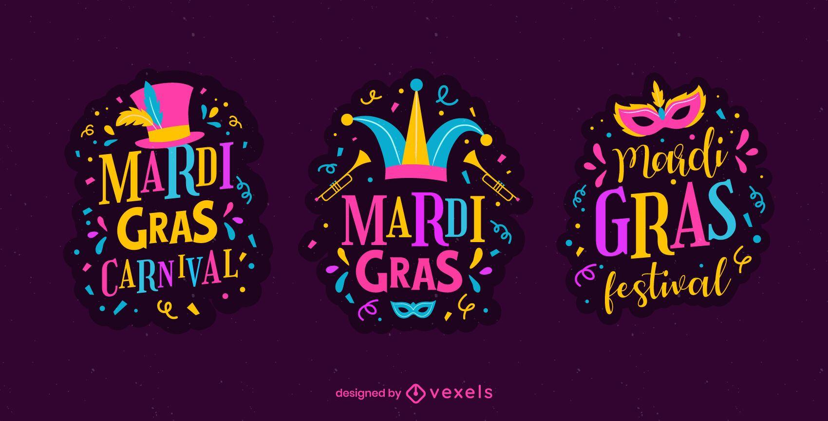 Mardi gras carnival badge set