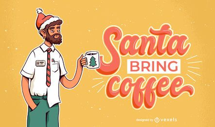 Santa bring coffee illustration design