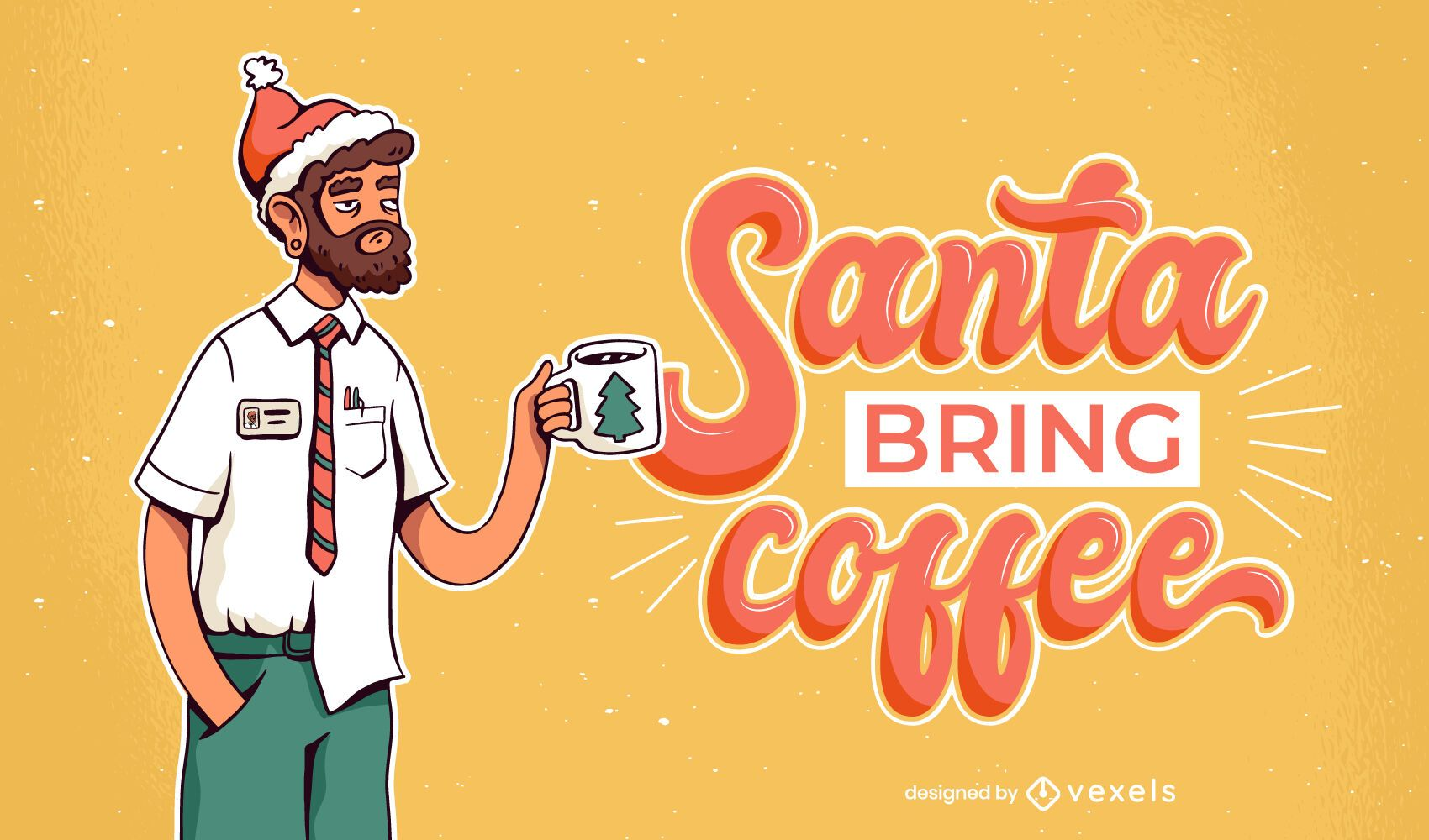 Santa bring coffee illustration design