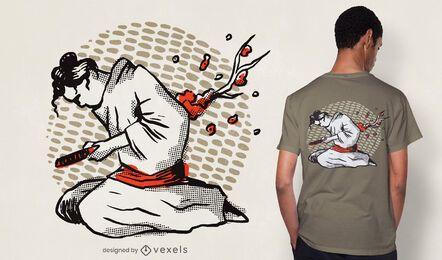 Diseño de camiseta samurai harakiri