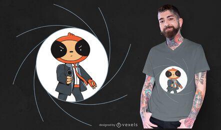 Design de camiseta da preguiça espiã