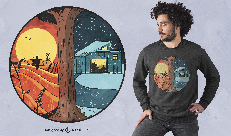 Diseño de camiseta de verano invierno país.