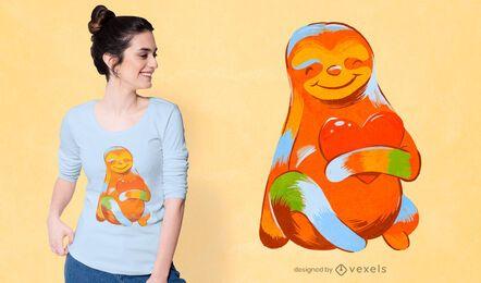 Design de camiseta colorida para preguiça