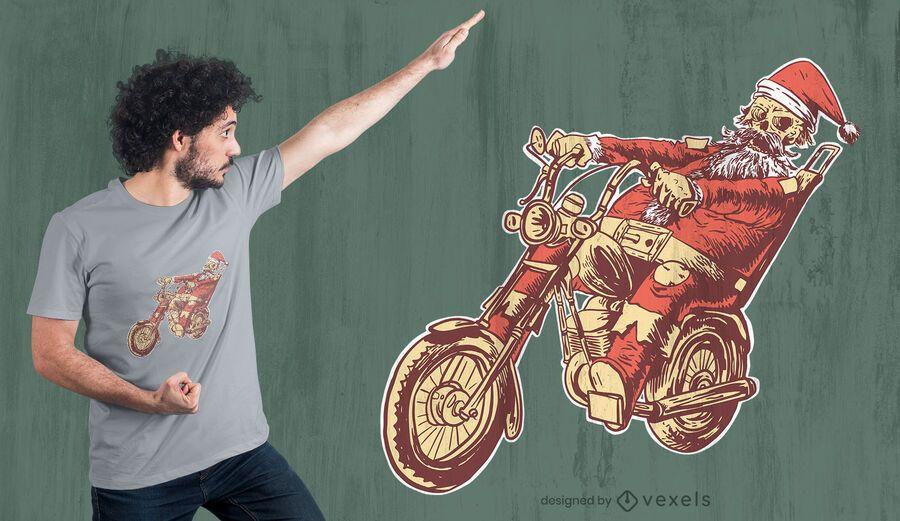 Skelett Santa Motorrad T-Shirt Design