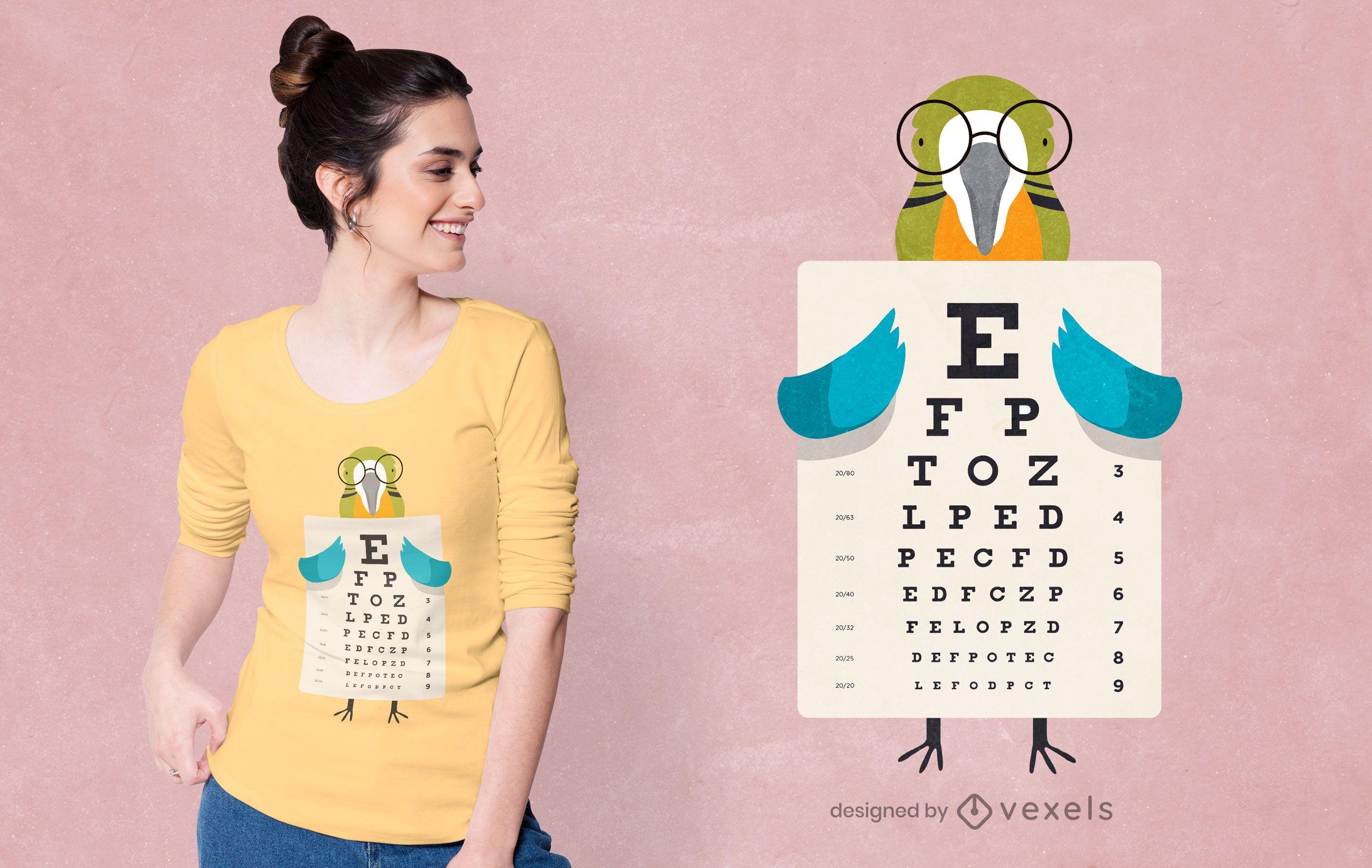 Parrot eye chart t-shirt design