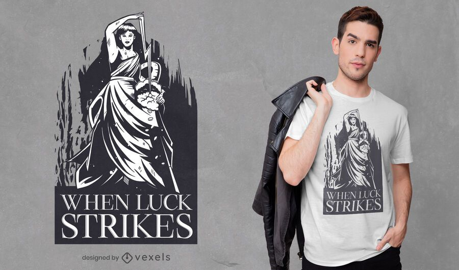 Diseño de camiseta de la diosa fortuna