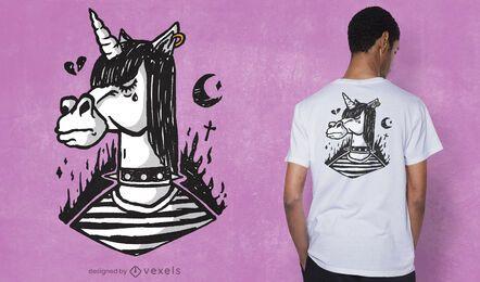 Diseño de camiseta emo unicornio