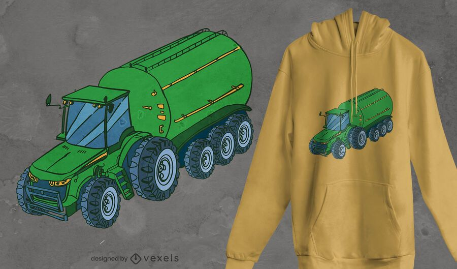 Tractor with slurry tanker t-shirt design