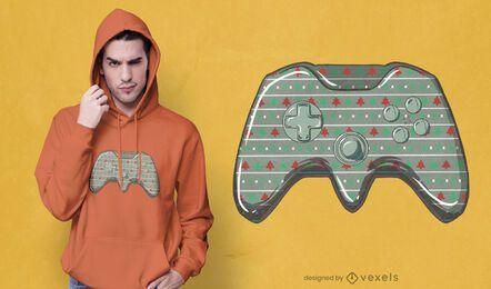 Diseño de camiseta de joystick navideño.