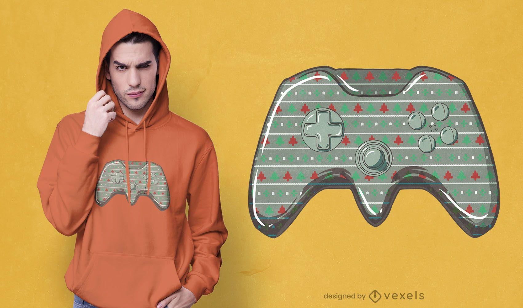 Dise?o de camiseta de joystick navide?o.