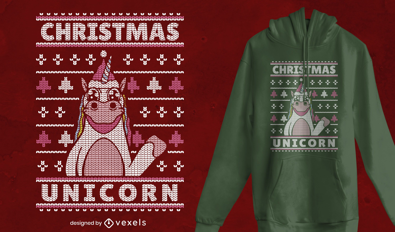 Diseño de camiseta navideña suéter feo