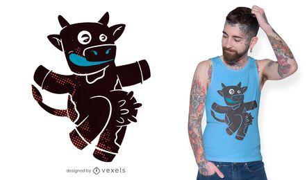 Design engraçado de camiseta de vaca