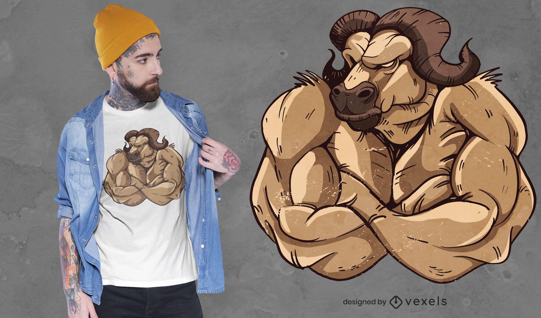 Diseño de camiseta de buey fuerte
