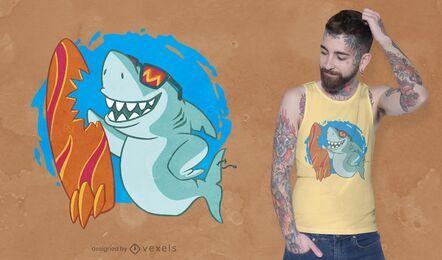 Design de camiseta de tubarão surfando