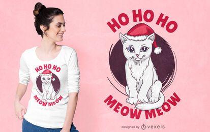 Design fofo de t-shirt de gato de natal