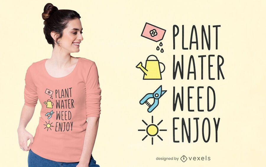 Design de t-shirt com passos de jardinagem