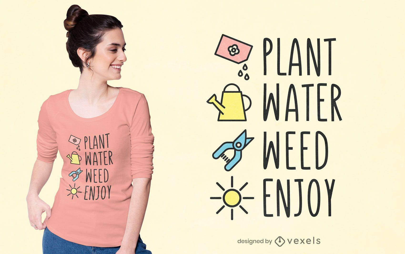 Diseño de camiseta de pasos de jardinería.