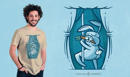 Diseño de camiseta de conejito de baile en barra.