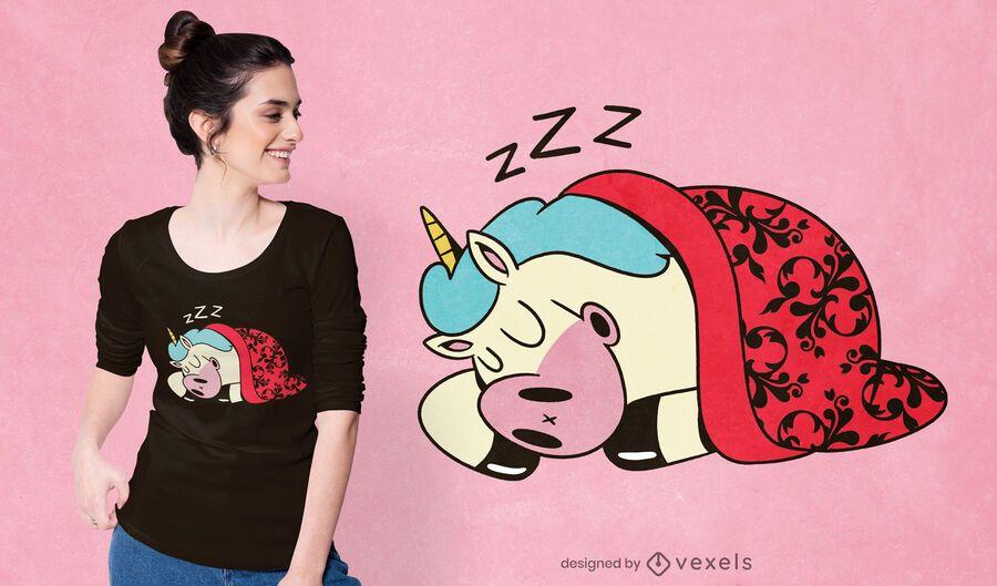 Diseño de camiseta de unicornio durmiendo
