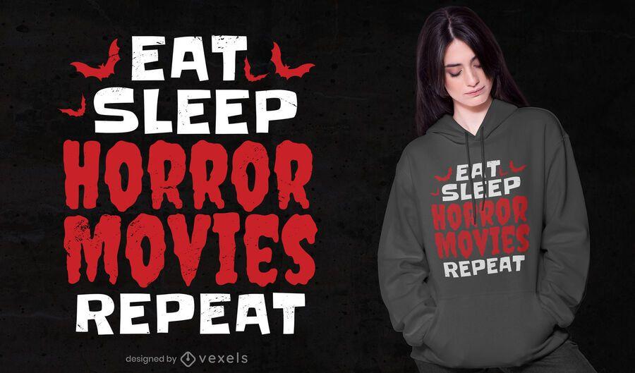 Design de camisetas de filmes de terror para dormir e dormir