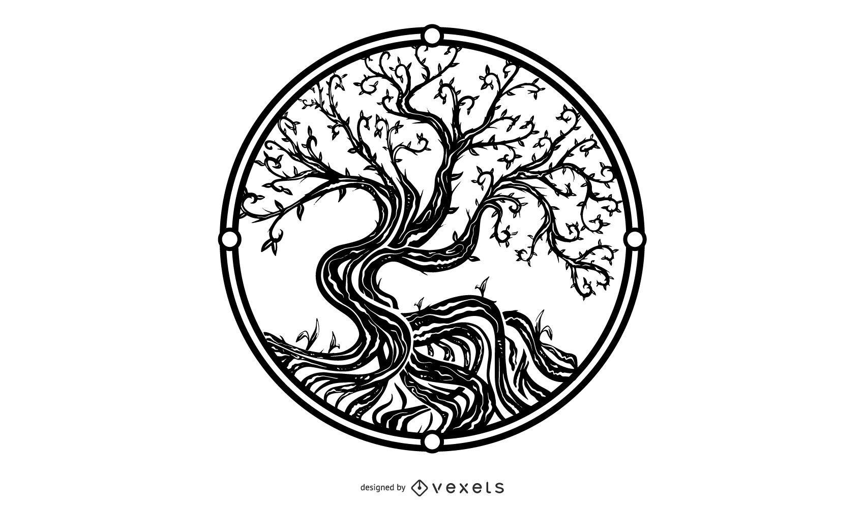Desenho de ilustração da árvore da vida