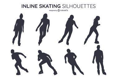 Cenografia de silhueta de patinação em linha
