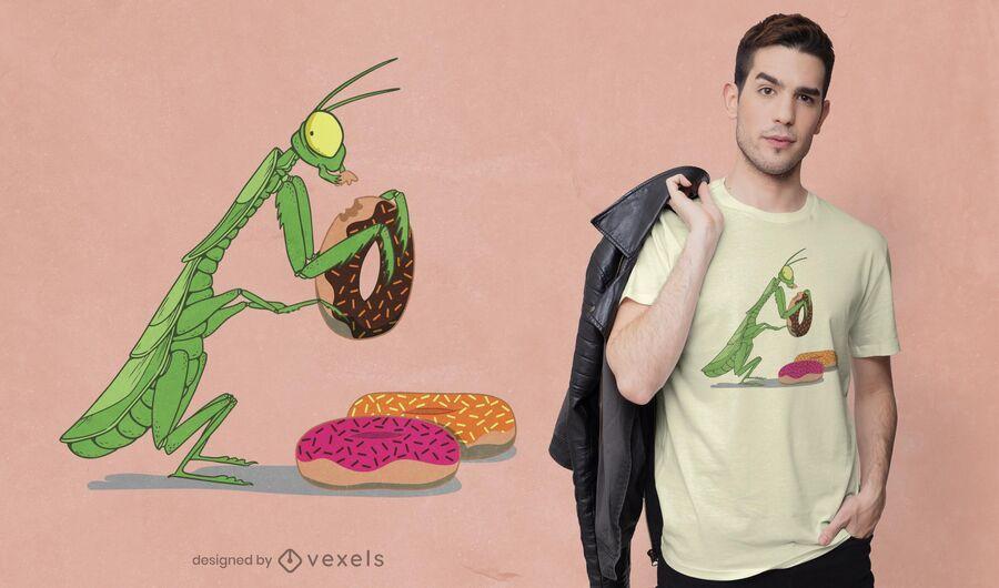 Diseño de camiseta mantis donuts