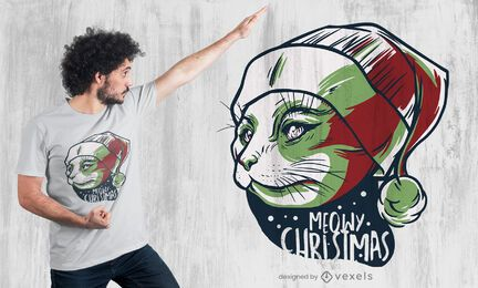 Diseño de camiseta navideña de Miau