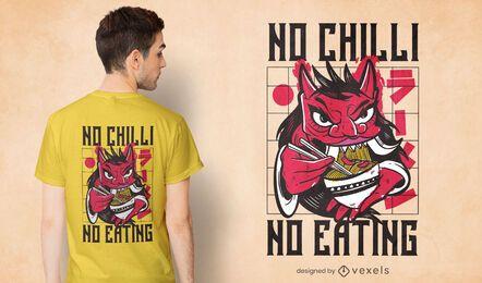Diseño de camiseta oni comiendo ramen