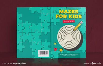 Diseño de portada de libro de actividades de laberinto