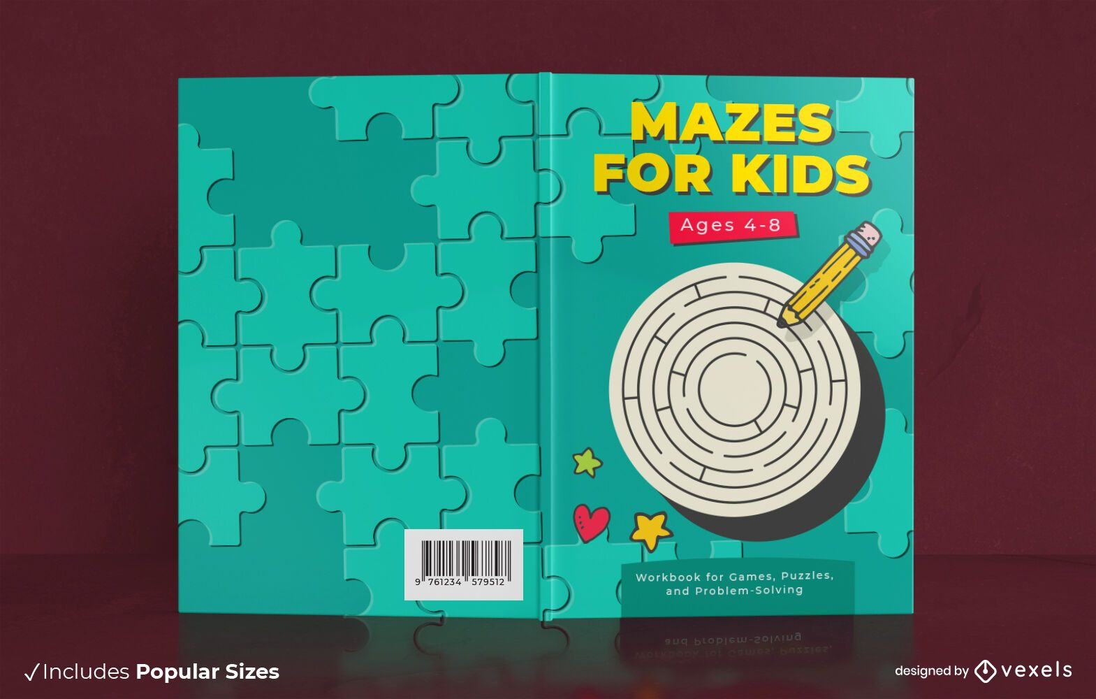 Design da capa do livro de atividades do labirinto