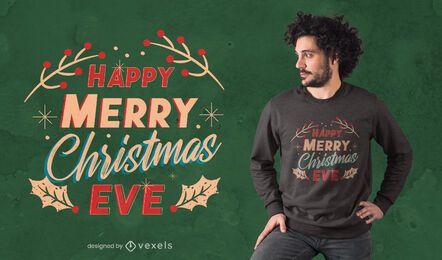 Design de t-shirt de feliz natal véspera
