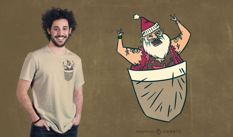 Diseño de camiseta bolsillo santa