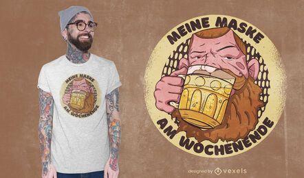 Diseño de camiseta de máscara de cerveza.
