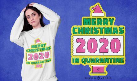 Navidad en diseño de camiseta de cuarentena.