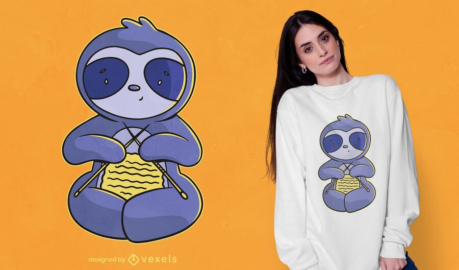 Design de t-shirt de preguiça de tricô