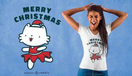 Diseño de camiseta de gatito navideño