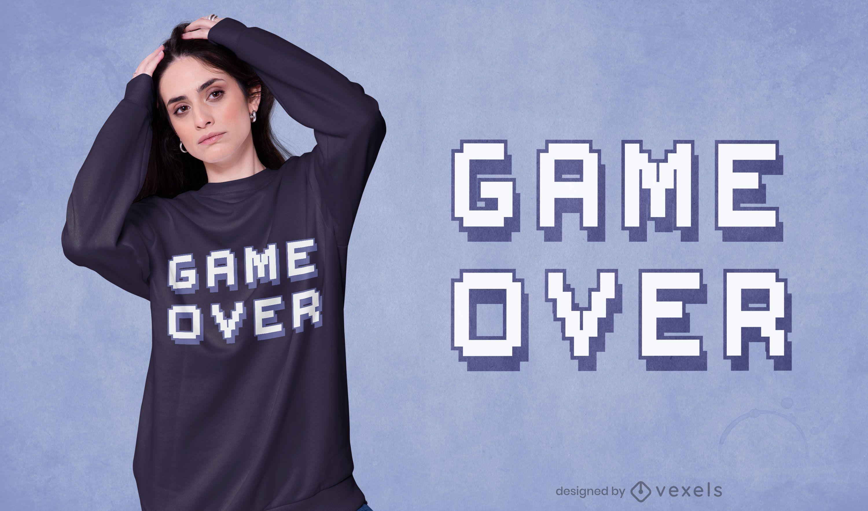 Diseño de camiseta Game Over quote